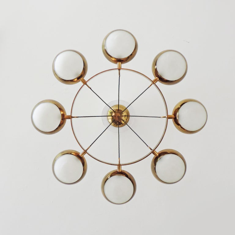 Mid-Century Modern Stilnovo Ceiling Lamp in Brass and Glass, Italy, 1950s For Sale