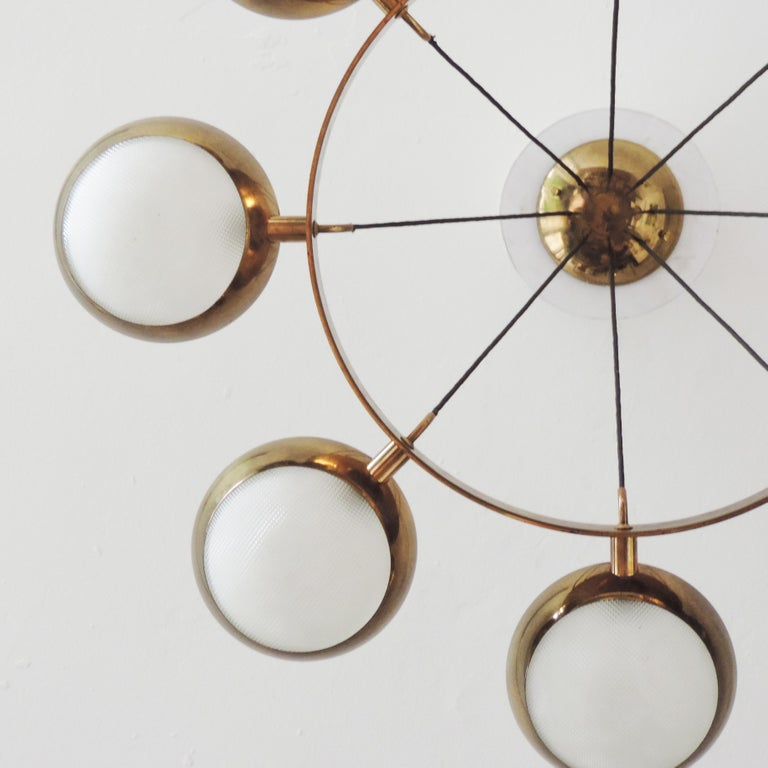 Pressed Stilnovo Ceiling Lamp in Brass and Glass, Italy, 1950s For Sale