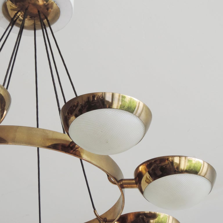 Stilnovo Ceiling Lamp in Brass and Glass, Italy, 1950s In Good Condition For Sale In Milan, IT