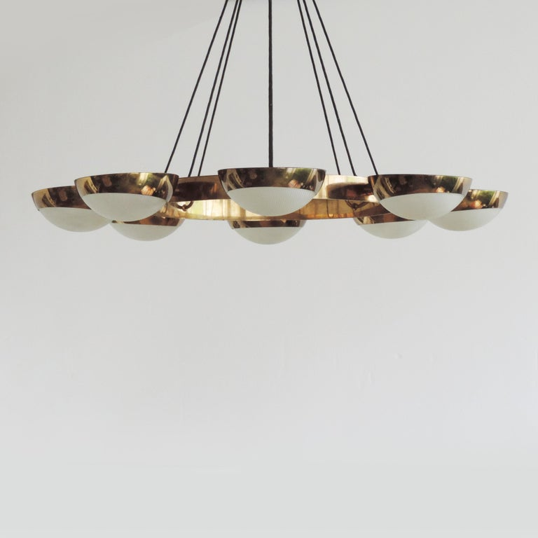 Mid-20th Century Stilnovo Ceiling Lamp in Brass and Glass, Italy, 1950s For Sale