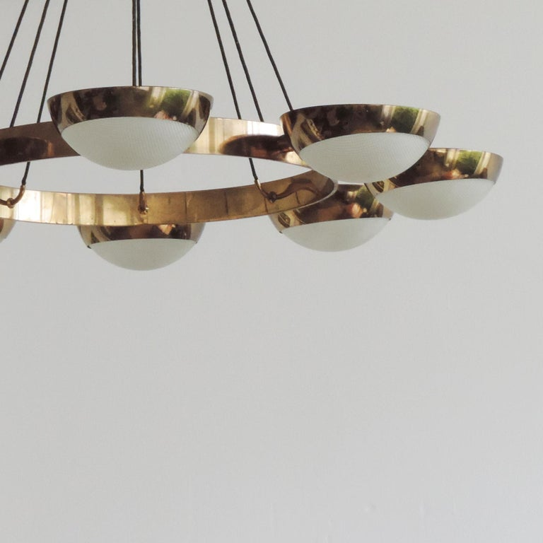 Stilnovo Ceiling Lamp in Brass and Glass, Italy, 1950s For Sale 1