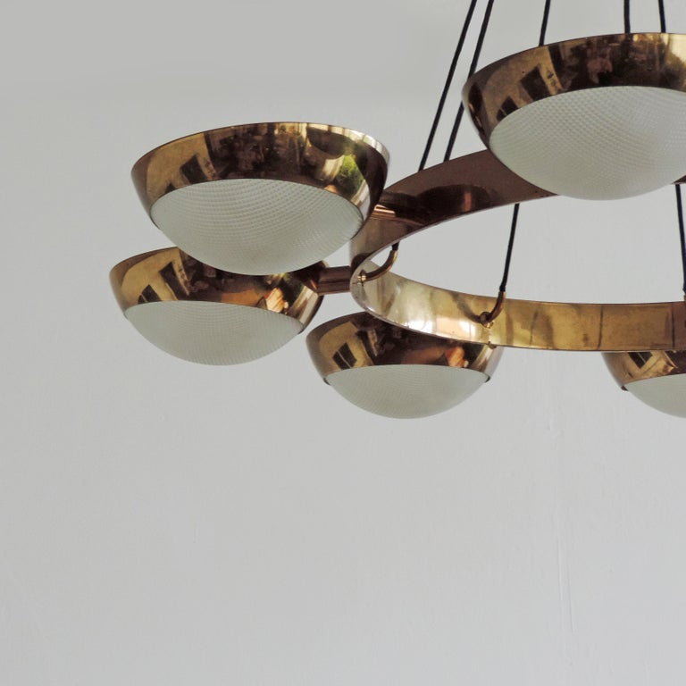 Stilnovo Ceiling Lamp in Brass and Glass, Italy, 1950s For Sale 2