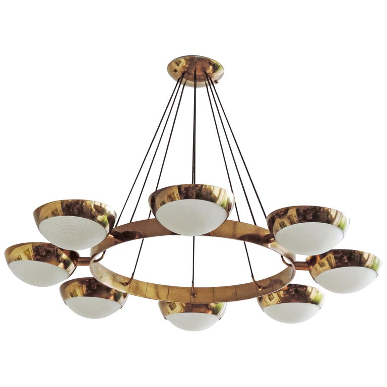 Stilnovo Ceiling Lamp in Brass and Glass, Italy, 1950s For Sale
