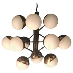 Stilnovo Chandelier 12 Lights Brass Opaline Glass, 1950