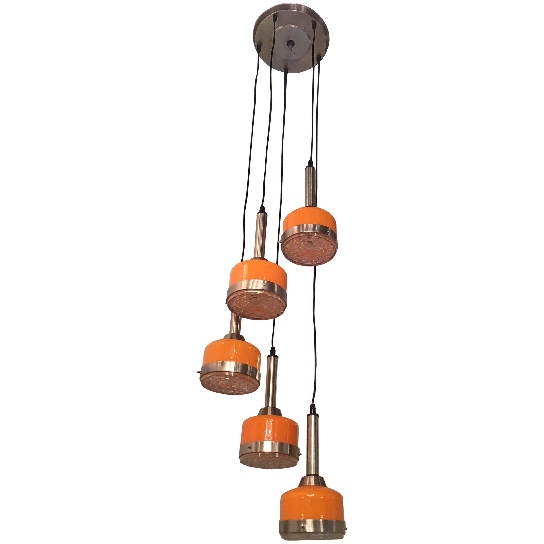 Stilnovo Style Chandelier 5-Light Glass Metal Crome, 1960, Italy