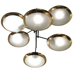 Stilnovo Chandelier 6-Light Brass Glass Iron, 1950, Italy