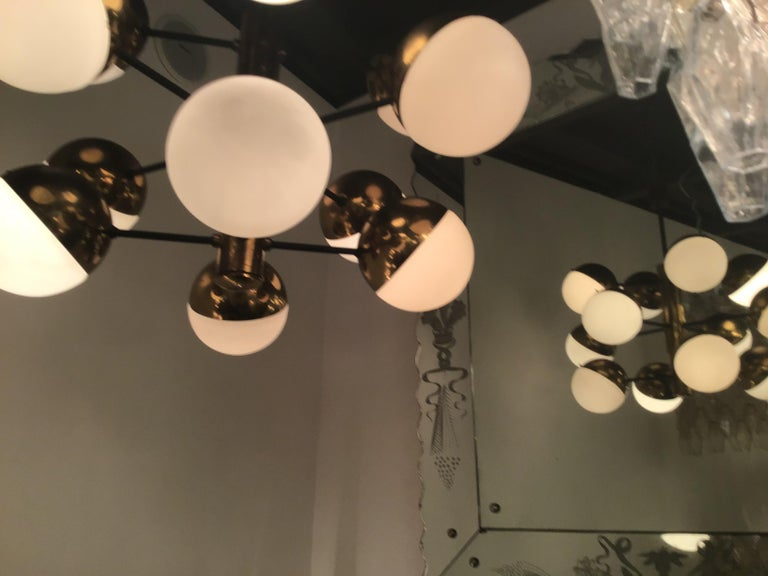 Stilnovo Style Chandelier 9 Lights Brass Opaline Glass, 1950 For Sale 4