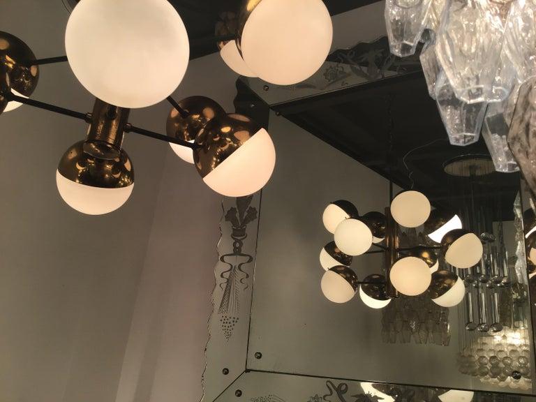 Stilnovo Style Chandelier 9 Lights Brass Opaline Glass, 1950 For Sale 5