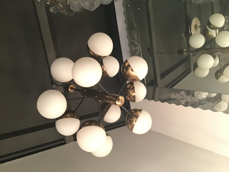 Stilnovo Style Chandelier 9 Lights Brass Opaline Glass, 1950 In Good Condition For Sale In Milano, IT