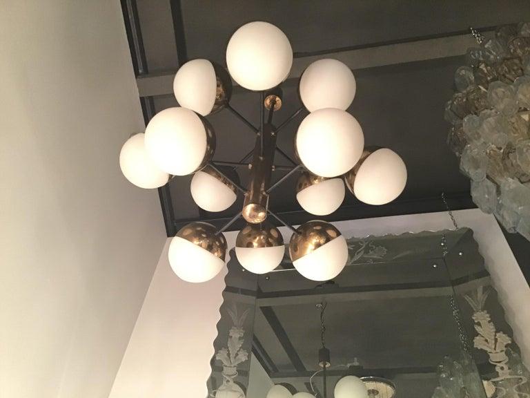 Stilnovo Style Chandelier 9 Lights Brass Opaline Glass, 1950 For Sale 1