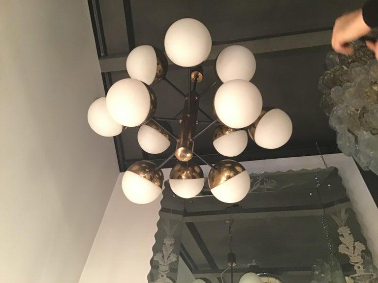 Stilnovo Style Chandelier 9 Lights Brass Opaline Glass, 1950 For Sale 2