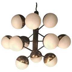 Stilnovo Chandelier 9 Lights Brass Opaline Glass, 1950