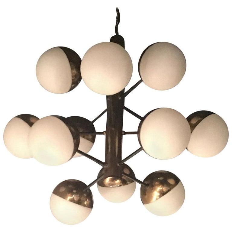 Stilnovo Style Chandelier 9 Lights Brass Opaline Glass, 1950 For Sale