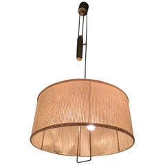 Stilnovo Chandelier Adjustable Latch, Brass Fabric Lampshade, 1950, Italy