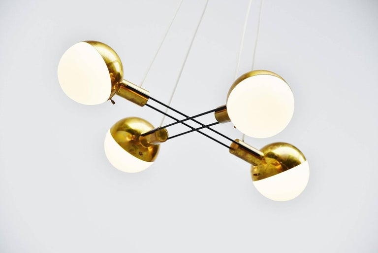 Italian Stilnovo Chandelier Brass and Glass, Italy, 1960 For Sale