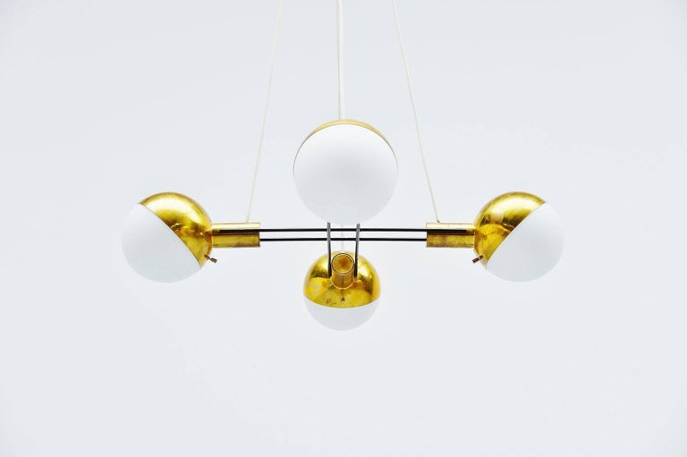 Mid-20th Century Stilnovo Chandelier Brass and Glass, Italy, 1960 For Sale