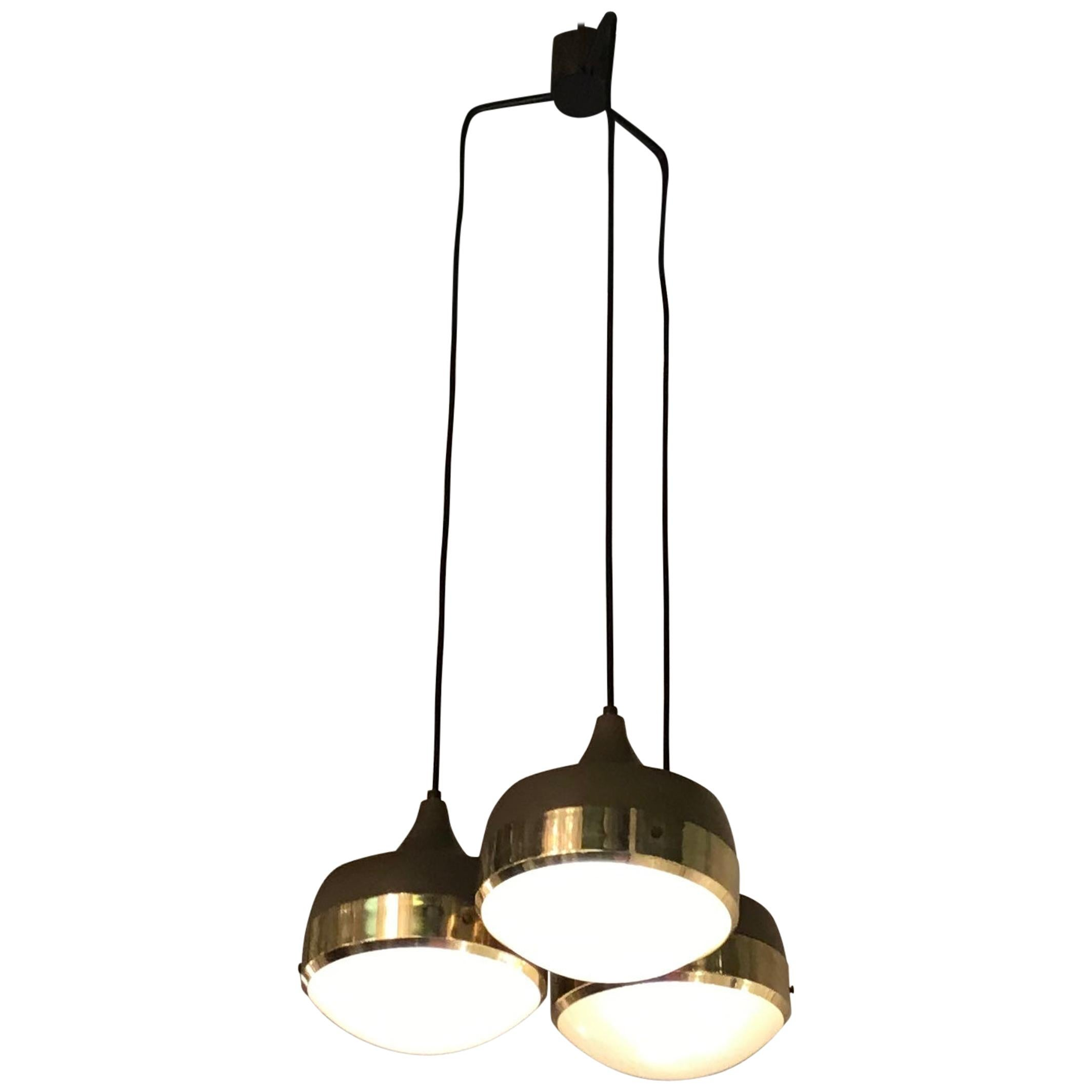 Stilnovo Style Chandelier Brass Glass Metal, 1960, Italy