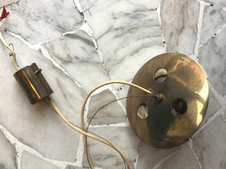 Stilnovo Chandelier Brass Opaline Glass, 1950, Italy For Sale 6