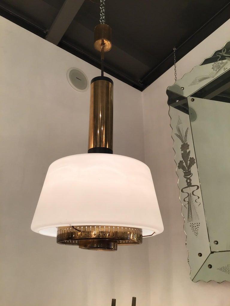 Stilnovo chandelier brass opaline glass, 1955, Italy.