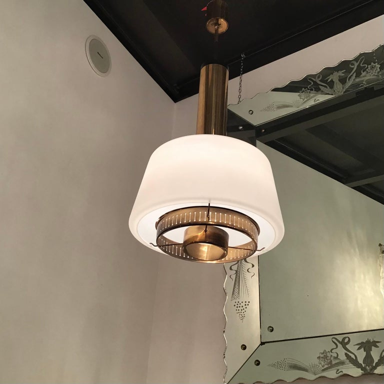 Stilnovo  coupleChandelier Brass Opaline Glass, 1955, Italy In Excellent Condition For Sale In Milano, IT