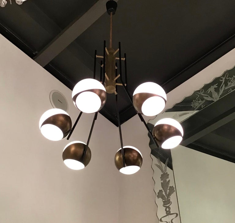 Stilnovo Chandelier Brass Opaline Glass Iron, 1950, Italy In Excellent Condition For Sale In Milano, IT