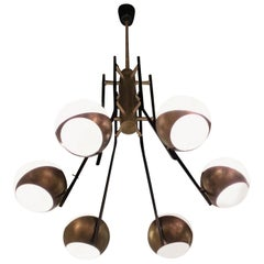Stilnovo Chandelier Brass Opaline Glass Iron, 1950, Italy