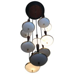 Stilnovo Chandelier Brass Opaline Glass Wood 10-Light 1950 Italy