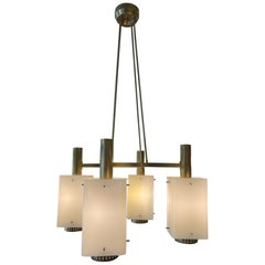 Stilnovo Chandelier Brass Structure Satin Opal Glass Diffusers, Italy, 1960s