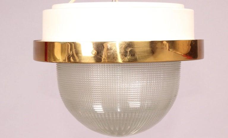 Stilnovo glass, brass and metal chandelier.