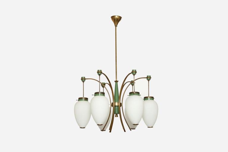Stilnovo chandelier, Italy, 1960s Six glass bells.