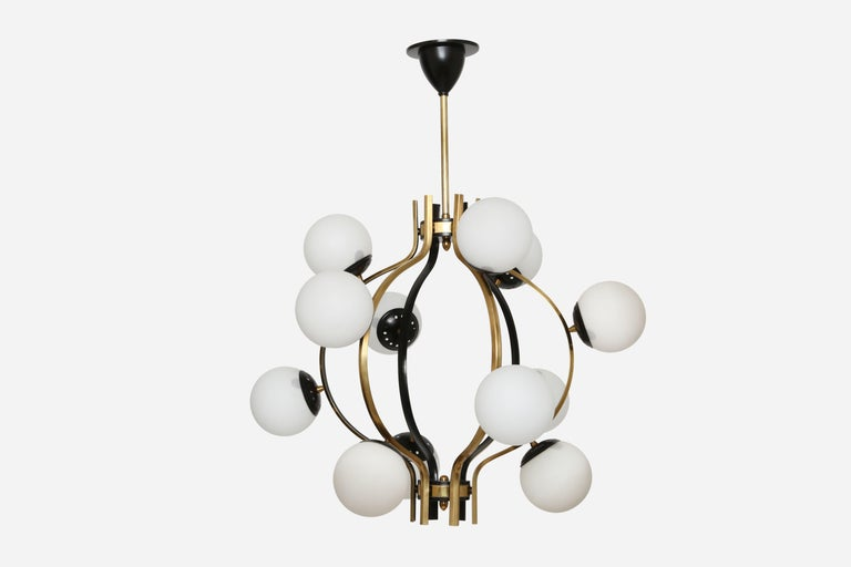 Stilnovo chandelier. Made with brass, enameled metal and opaline glass globes. Italy, 1950s.