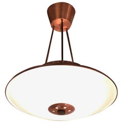 Stilnovo Chandelier Glass Copper-Plated Brass 1950, Italy