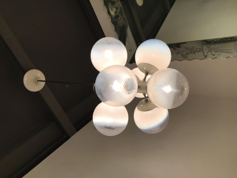 Stilnovo Style chandelier glass metal crome 7 lights, 1960, Italy.