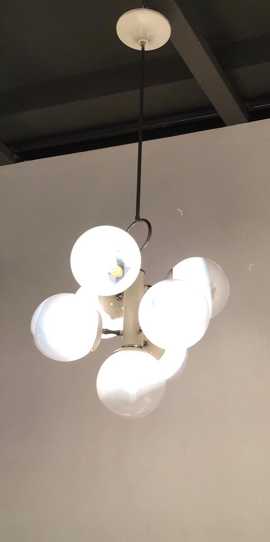 Italian Stilnovo Style Chandelier Glass Metal Crome 7 Lights, 1960, Italy  For Sale