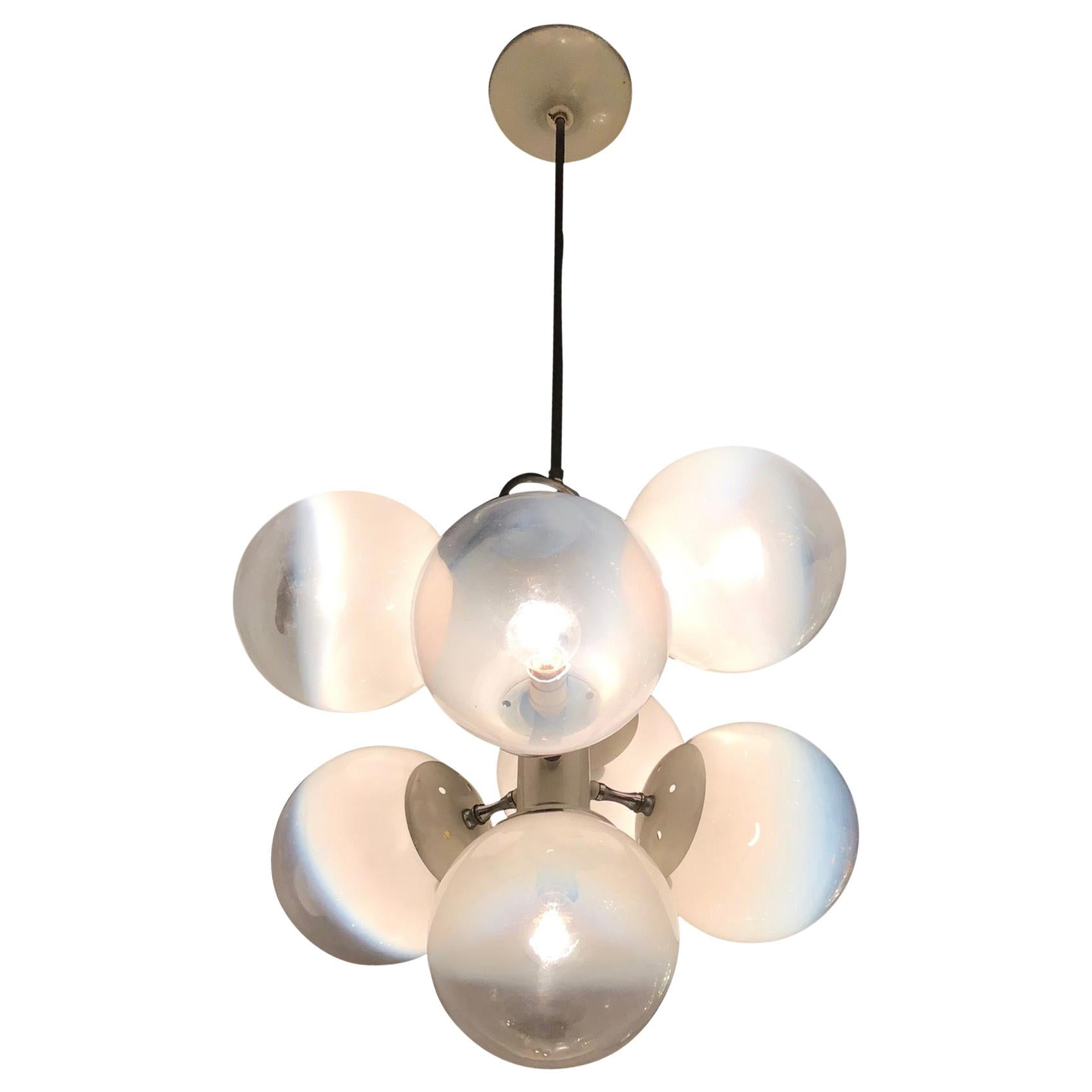 Stilnovo Style Chandelier Glass Metal Crome 7 Lights, 1960, Italy