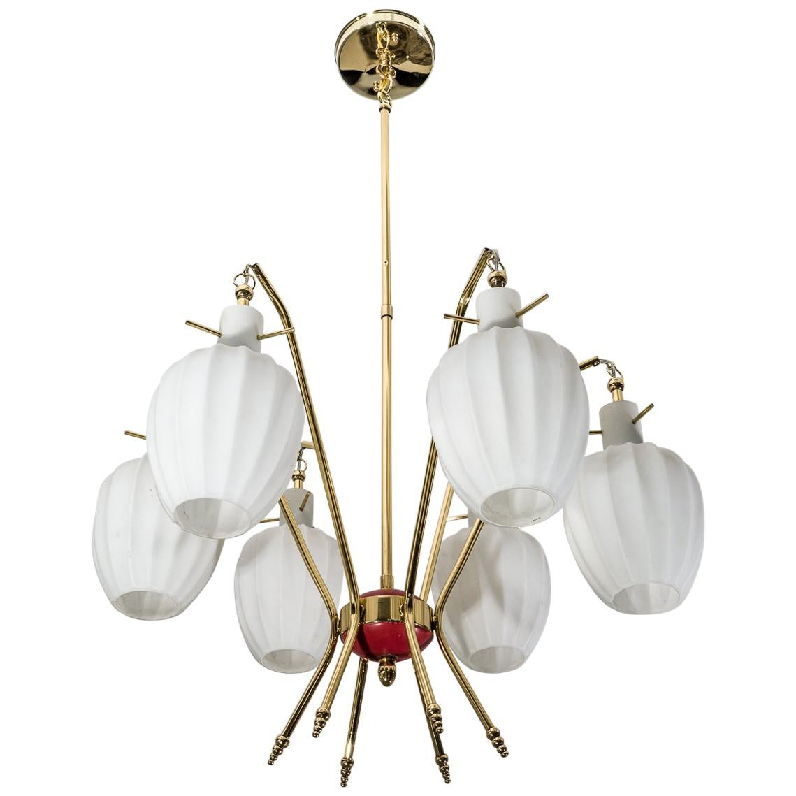 Stilnovo Style Chandelier in Brass and Murano Glass