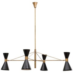 Stilnovo Chandelier in Brass with Black-Laquered Diablo Lamps, Italy, 1950s