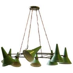 Stilnovo Chandelier Midcentury in Brass and Green Aluminum, Original Label 1950s