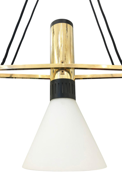Brass Stilnovo Chandelier Model 1173 For Sale