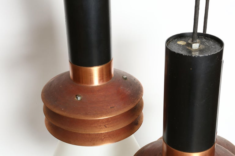 Enameled Stilnovo Chandelier Model 1253 For Sale