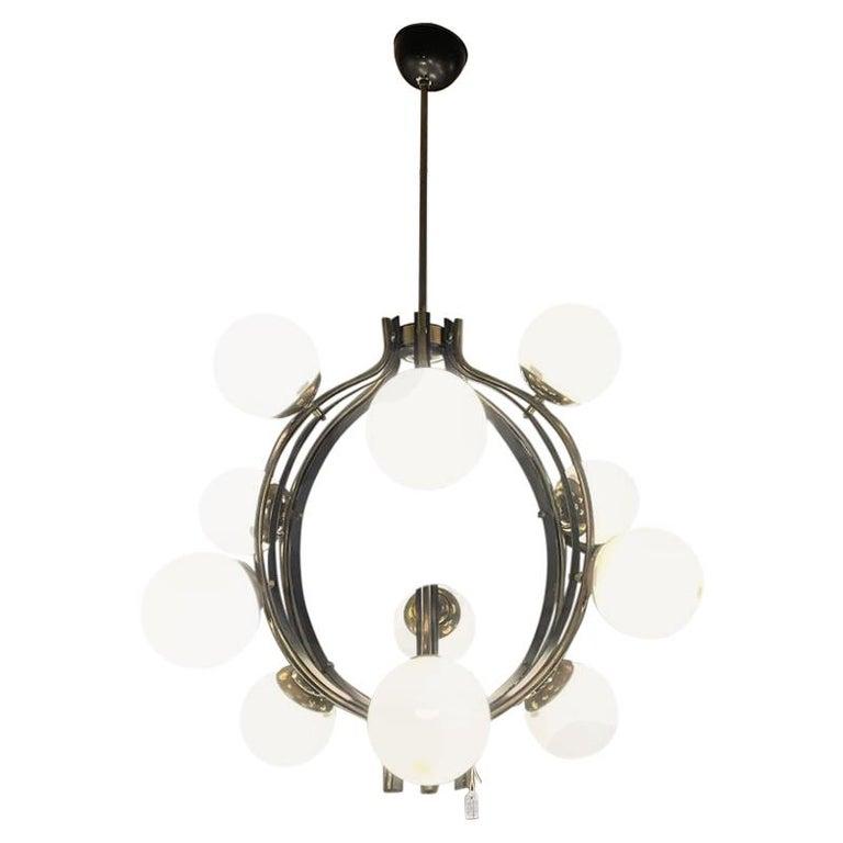 Stilnovo Chandelier Polished Brass Lacquered Metal Satin Balls, Italy, 1960 For Sale