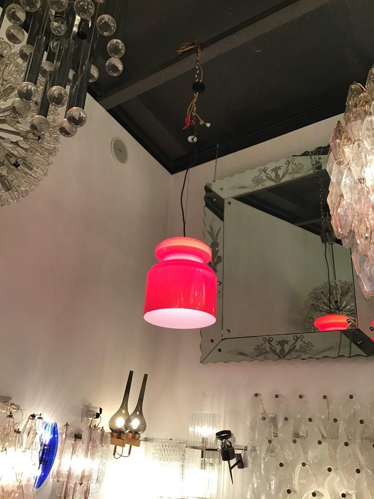 Stilnovo chandelier red opaline glass metal crome, Italy, 1965.