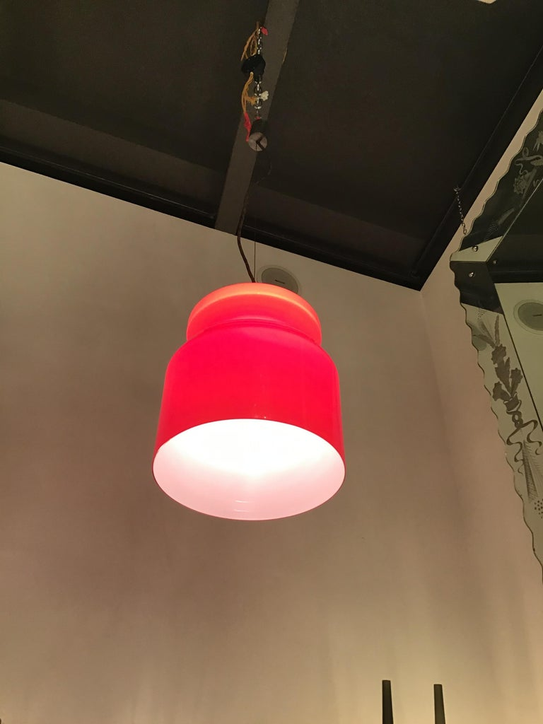 Other Stilnovo Chandelier Red Opaline Glass Metal Crome, 1965, Italy For Sale
