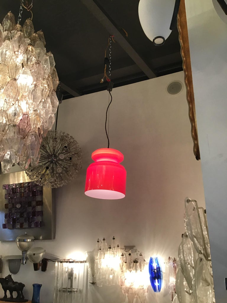 Italian Stilnovo Chandelier Red Opaline Glass Metal Crome, 1965, Italy For Sale