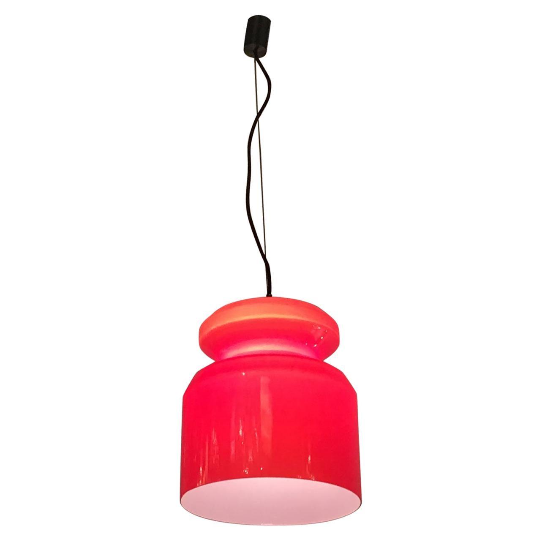 Stilnovo Chandelier Red Opaline Glass Metal Crome, 1965, Italy