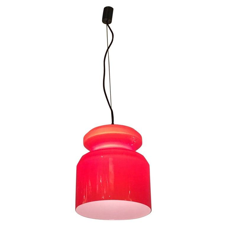 Stilnovo Chandelier Red Opaline Glass Metal Crome, 1965, Italy For Sale