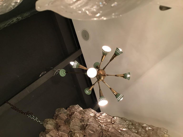 Stilnovo Chandelier with 9 Adjustable Lights Brass Metal, 1955, Italy In Good Condition For Sale In Milano, IT