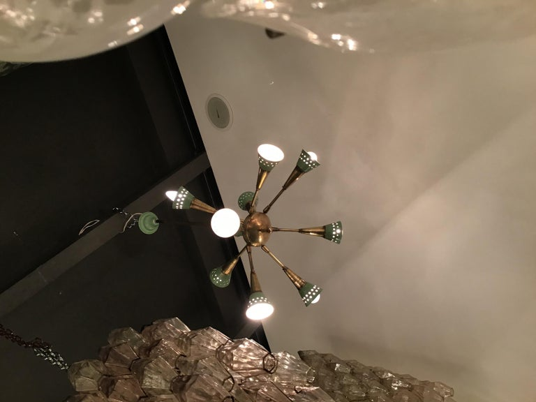 Mid-20th Century Stilnovo Chandelier with 9 Adjustable Lights Brass Metal, 1955, Italy For Sale