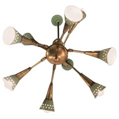 Stilnovo Chandelier with 9 Adjustable Lights Brass Metal, 1955, Italy