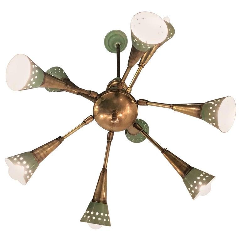 Stilnovo Chandelier with 9 Adjustable Lights Brass Metal, 1955, Italy For Sale
